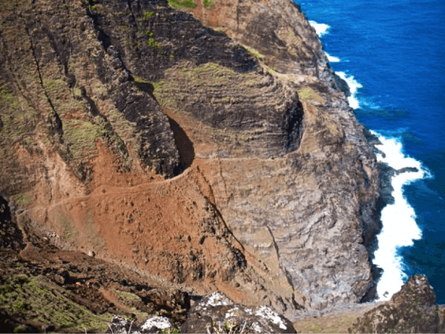 the terrifying cliffs edge on the Napali Coast