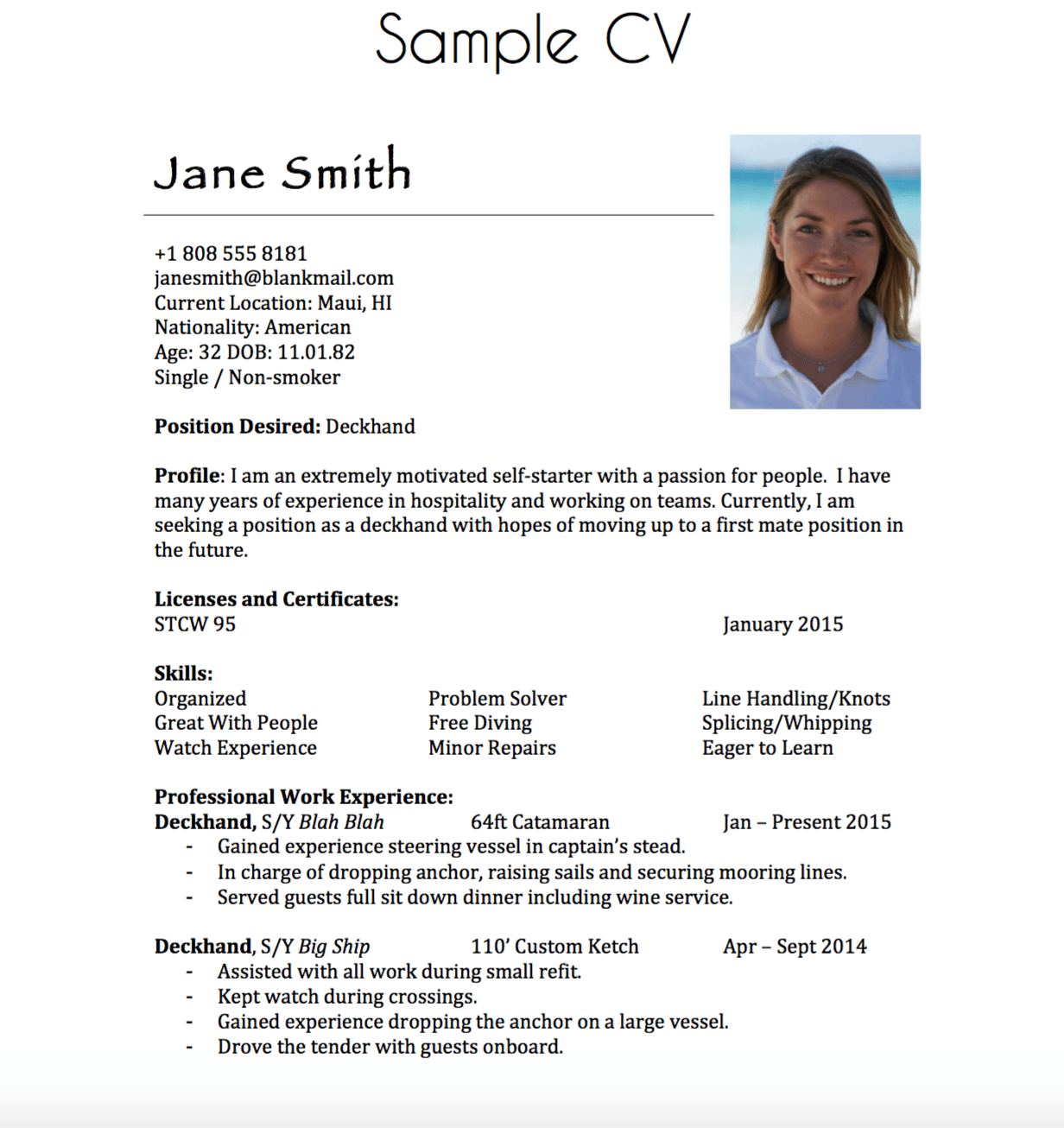 building a yachting resume
